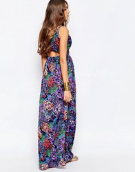 Mela Loves London Floral Open Back Maxi Dress Purple