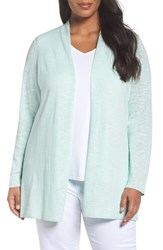 Eileen Fisher Plus Size Women's Slubbed Linen And Cotton Straight Cut Cardigan