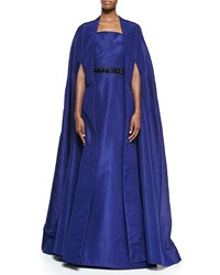 Pamella Roland Silk Faille Opera Cape Coat Navy