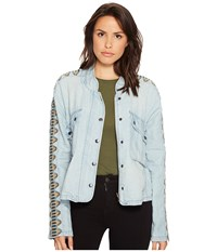 Free People Embroidered Chambray Jacket Blue Women's Coat