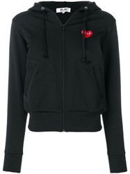 Comme Des Garcons Play Logo Patch Hoodie Black