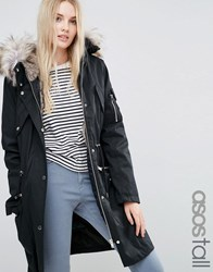 Asos Tall Parka With Detachable Faux Fur Liner Black