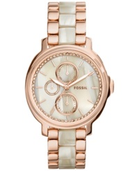 Fossil Women's Chelsey Rose Gold Tone Stainless Steel And Shimmer Horn Acetate Bracelet Watch 39Mm Es3890