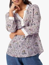 Brora Liberty Contrast Floral Silk Blouse Tea Rose Bloom