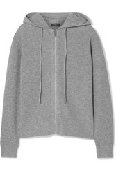 Theory Ribbed Cashmere Hoodie Gray