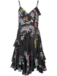 Josie Natori Kyoto Print Ruffle Dress Black