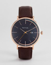 Paul Smith Ps0070008 Track Leather Watch In Black 42Mm