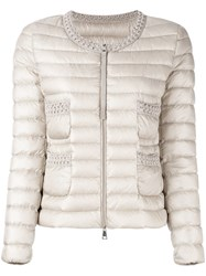 Moncler Classic Puffer Jacket Women Feather Down Polyamide 3 Nude Neutrals