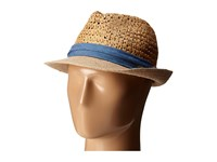 Steve Madden Two Weave Banded Fedora Denim Fedora Hats Blue