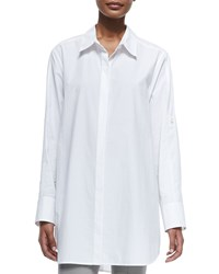 Donna Karan Long Sleeve Oversized Button Down Tunic Women's White