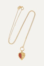 Foundrae Mini Heart Love Token 18 Karat Gold And Enamel Necklace
