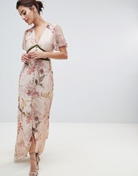 Hope And Ivy Fluted Sleeve Maxi Dress With Velvet Trim Pink Floral Cream