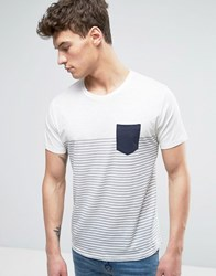 Solid Striped T Shirt With Pocket White