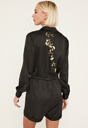 Missguided Black Embroidered Back Satin Shirt Playsuit