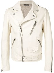 Tom Ford Zip Up Leather Jacket Neutrals