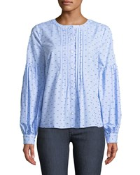Cynthia Steffe Bubble Sleeve Pleated Front Blouse Blue