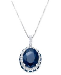 Macy's Sapphire 3 9 10 Ct. T.W. And White Sapphire 1 6 Ct. T.W. Pendant Necklace In 10K White Gold Blue