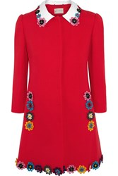 Mary Katrantzou Mason Floral Appliqued Wool Crepe Coat Red