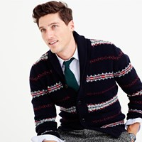J.Crew Lambswool Fair Isle Cardigan Sweater
