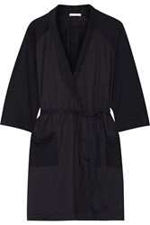 Skin Emily Cotton Poplin Paneled Slub Cotton Jersey Robe Storm Blue