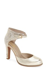 Women's Seychelles 'Hopeful' Ankle Strap Pump Pale Gold Leather