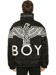 Boy London Reversible Eagle Nylon Puffer Jacket Black Silver