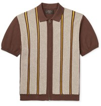 Beams Plus Slim Fit Striped Cotton And Linen Blend Zip Up Polo Shirt Brown