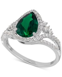 Macy's Lab Created Emerald 1 3 4 Ct. T.W. And White Sapphire 3 8 Ct. T.W. Ring In Sterling Silver