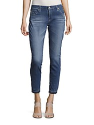 Ag Adriano Goldschmied Whiskered Ankle Length Jeans Medium Wash