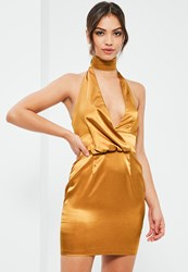 Missguided Gold Silky Drape Choker Shift Dress Orange