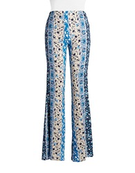 Vintage Havana Printed Bells Flared Pants Blue Multi