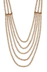 Cara Accessories 5 Line Rhinestone Necklace Metallic