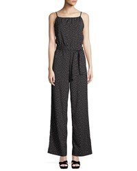 Bishop Young Belted Wide Leg Jumpsuit Blue Pattern