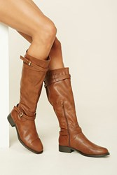 Forever 21 Faux Leather Tall Boots Camel