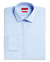 Hugo Mabel Small Gingham Check Regular Fit Dress Shirt Light Blue