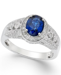 Effy Collection Sapphire 1 3 8 Ct. T.W. And Diamond 1 3 Ct. T.W. Ring In 14K White Gold Blue