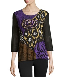 Berek Embellished Round Neck Blouse Brown