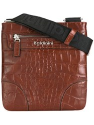 Baldinini Crocodile Skin Effect Messenger Bag Brown