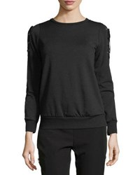 Casual Couture Lace Up Sleeve Sweatshirt Black