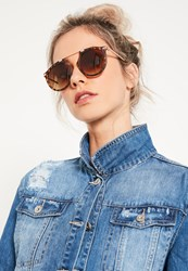 Missguided Brown Tortoise Shell Round Frame Sunglasses