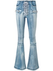 Unravel Project Lace Up Flared Jeans Blue