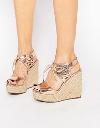 Lipsy Brooke Rose Gold Metallic Tie Up Wedge Sandals Rose Gold