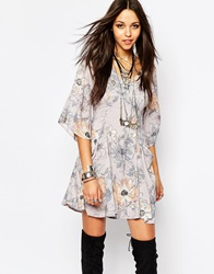 Free People Eyes On You Mini Dress In Floral Print Stonemulti
