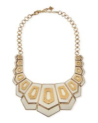 Akola Hexagon Vertical Bib Necklace White