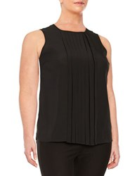 Michael Michael Kors Plus Pleated Front Sleeveless Top Black