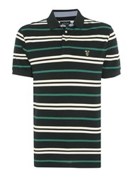 Howick Men's Bedford Stripe Short Sleeve Polo Green