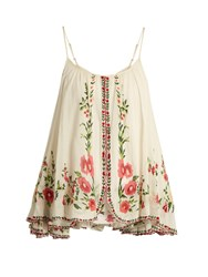 Mes Demoiselles Josephine Floral Embroidered Cotton Top Cream Multi