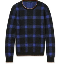 Christopher Kane Slim Fit Neon Tipped Checked Knitted Sweater Purple