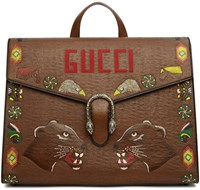 Gucci Brown Hand Painted Dionysus Briefcase