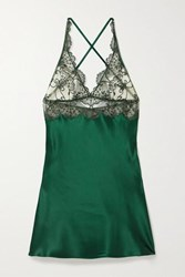 I.D. Sarrieri Embroidered Tulle And Silk Blend Satin Chemise Emerald